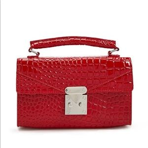 Forever 21 Red Faux Croc Satchel